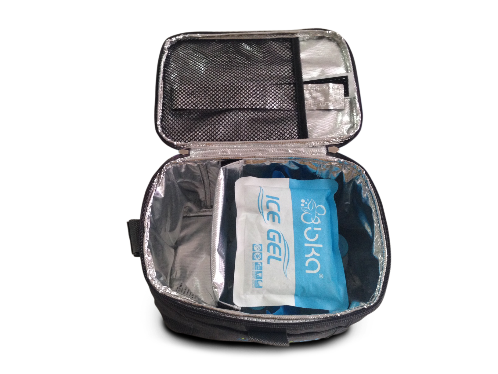 cooler bag isi 6 botol kaca asi + 1 ice gel asi besar + 1 ice gel sedang