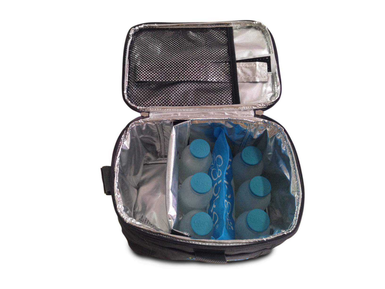 cooler bag isi 6 botol kaca asi + 1 ice gel asi besar